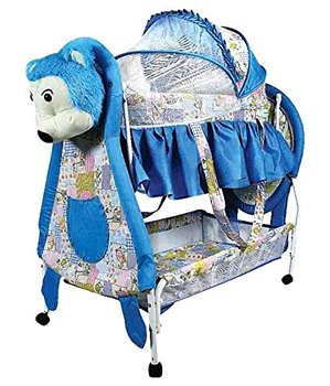 Lovley Baby Crib And Cradle With Swing (Baby Jhula) Mosquito Net And Multiple Basket and Brakes - Blue (Design may very)
