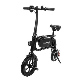 PATOYS Swagtron SWAGCYCLE Envy Folding Electric Bicycle/ E Bike with 200W Motor & Steel Frame, Automatic Headlight Reach 10 MPH; 120Kg Max Load (Black)