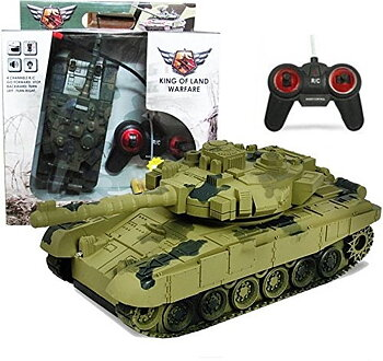 PA Toys Remote Control Tank Rechargeable Big Size with Light and Gun Sound (HT8829GD) green