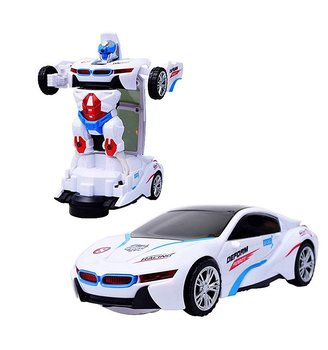 PA Toys Deform Robot Sports Car Toy with Convertible Robot with Lights, Music & Bump & Go Function for Kids, White (Image May Vary)