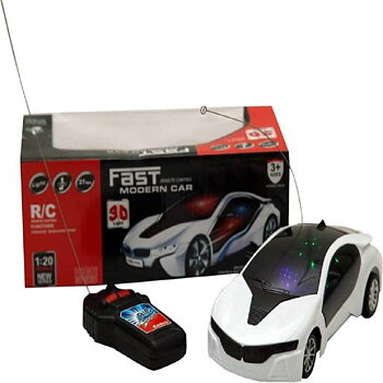 PA Toys 3D LED Light Fast Modern Car with Remote Control(white)
