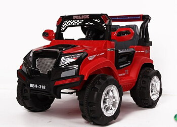 PA Toys Hummer Style Battery Operated Children Ride Jeep -On 2.4 G -(1199) Red